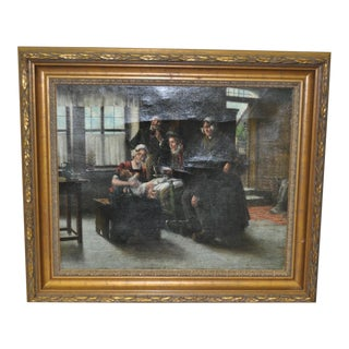 "19th Century ""Grandfathers Present"" Oil Painting"