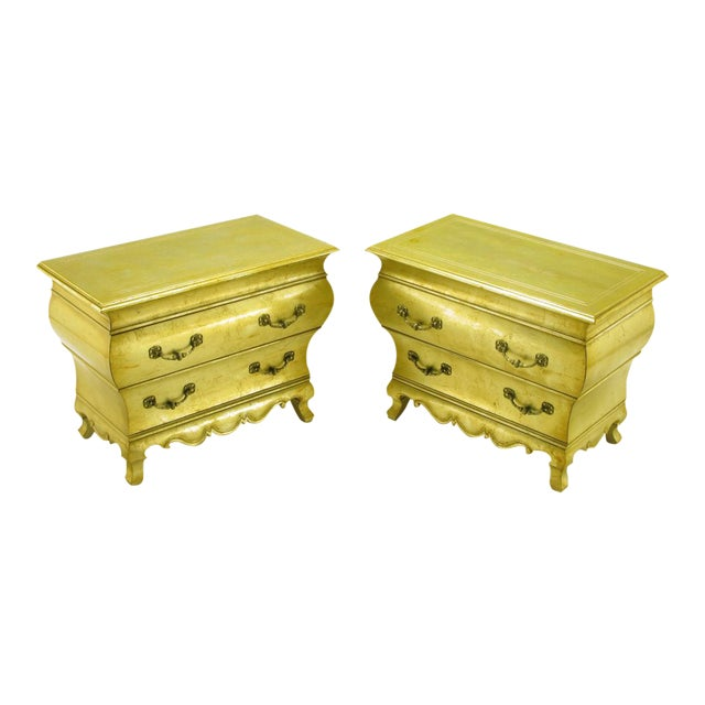 Pair Henredon Gold Toned Silver Leaf Bombe Two-Drawer Commodes - Image 1 of 10