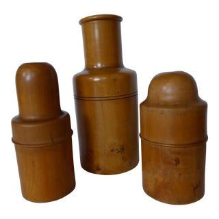 Victorian Boxwood Containers & Smelling Salts Bottle - Set of 4