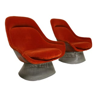 Pair of Burnt Orange Lounge Chairs by Warren Platner for Knoll, 1976