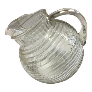 Mid-Century Ribbed Glass Pitcher