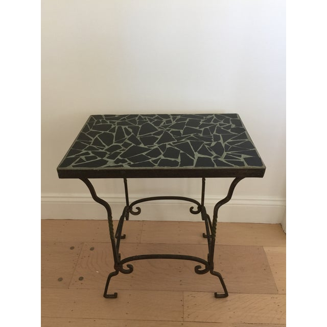 Black Cracked Mosaic Tile Top Iron Side Table - Image 2 of 8