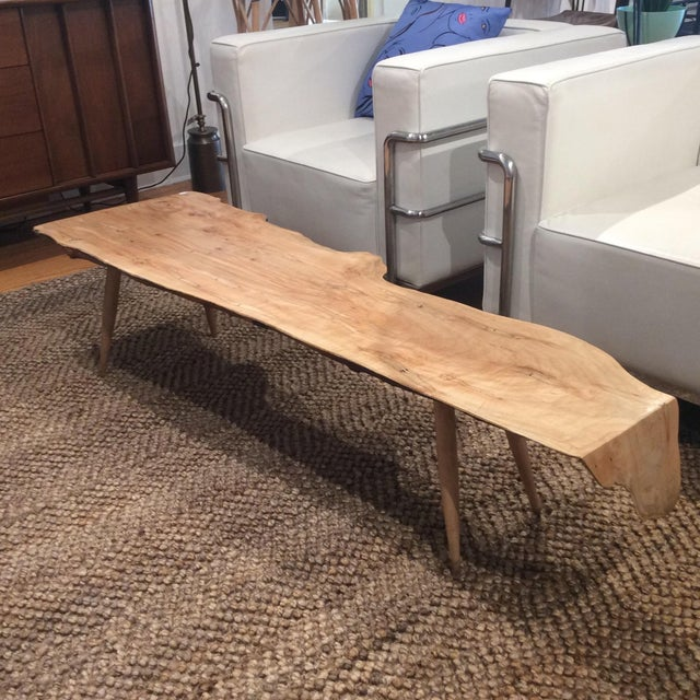 Reclaimed Live Edge Maple Coffee Table Bench Industrial: Live Edge Spalted Maple Coffee Table