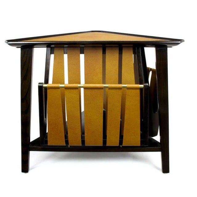 Image of Rare Edward Wormley Dark Ash & Leather Magazine Table