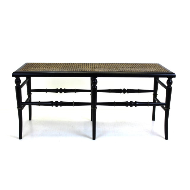 Black Bench With Cane Seat Chairish