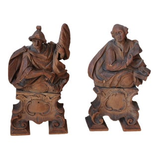 18th C. Wood Figure Carvings - Pair
