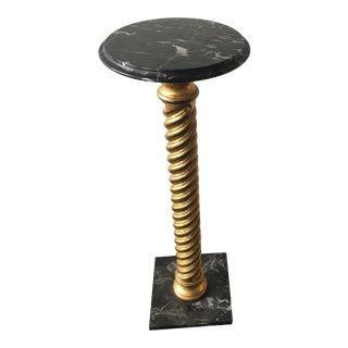 Italian Black Carrera Marble Pedestal
