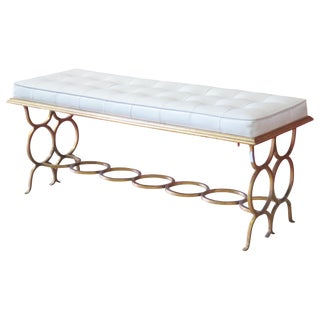 Modern Gilt Painted Tufted Bench