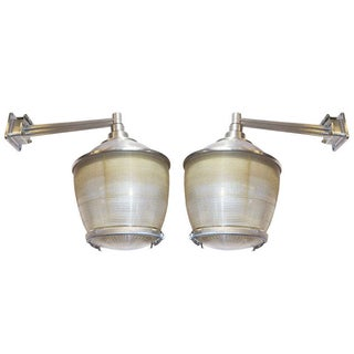Industrial Halophane Wall Sconces - a Pair