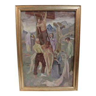 Vintage Oil Painting, Decent from the Cross
