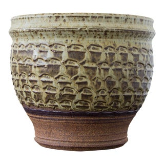 Textured Stoneware Garden Pot