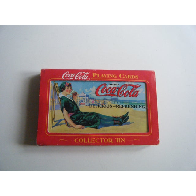 vintage coca cola playing cards in tin chairish. Black Bedroom Furniture Sets. Home Design Ideas