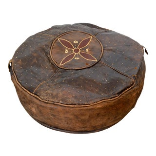 Vintage 1940s Moroccan Leather Pouf