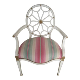 Multicolor Striped Silk Chintz Side Chair