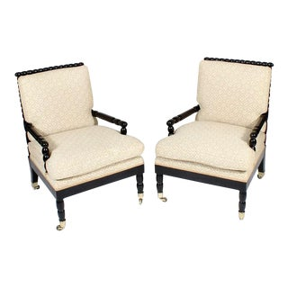 Pair of Rare Ebonized Bobbin or Spool Turned Armchairs