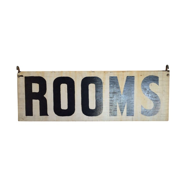 "Vintage Wood ""Rooms"" Sign - Image 1 of 6"