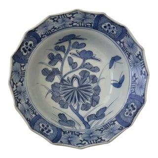 Antique Imari Porcelain Japanese Scalloped Blue & White Bowl