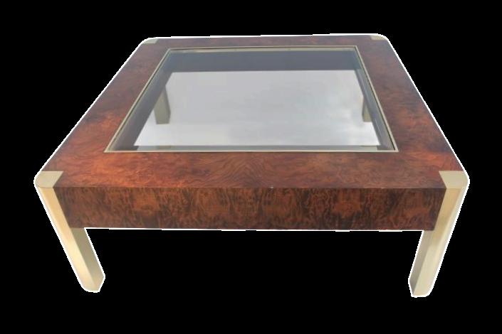 Century Furniture Burl Brass Coffee Table Chairish