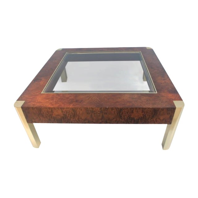 Century Furniture Burl & Brass Coffee Table - Image 1 of 10