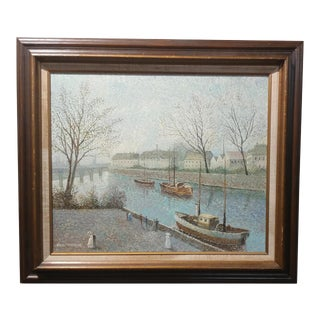 "Paul Thomas ""Romantic River Wal""Pointillism Oil Painting"