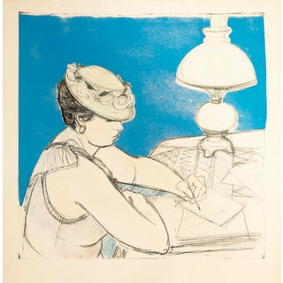 """The Lamp Is Lit"" Vintage Victorian Woman Lithograph"