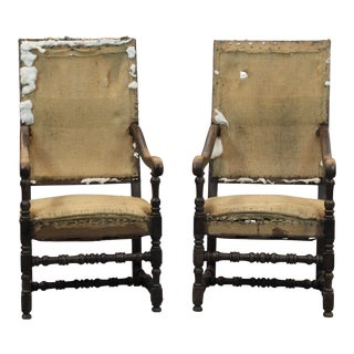 French Library Arm Chairs - A Pair