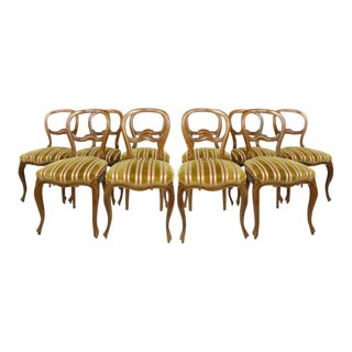 Set of Ten Balloon Back Dining Chairs Upholstered in Striped Cut Silk-Velvet- more available