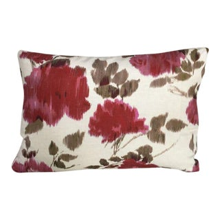 Kim Salmela Red and Beige Floral Pillow