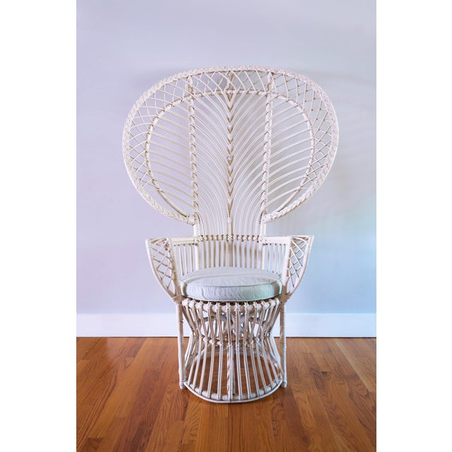 Vintage White Rattan Peacock Chair & Cushion - Image 2 of 11