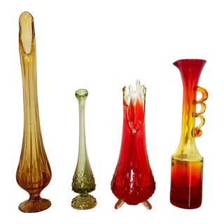 Mid-Century Decorative Art Glass Vases - Set of 4