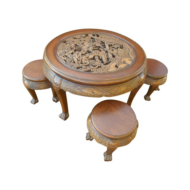 Vintage Japanese Hand Carved Tea Table Dining Set - Image 1 of 9