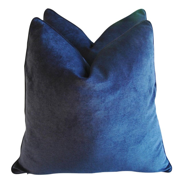 Large Designer Midnight Blue Velvet Feather/Down Pillows - Pair - Image 1 of 10