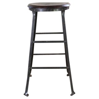 Rustic Bar Stool Backless Kitchen Wood and Metal Stool