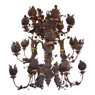 Monumental 18c Tole and Wood Chandelier
