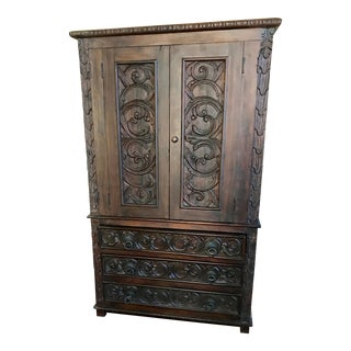 Antique Teak Carved Armoire