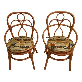 Mid-Century Rattan Side Chairs - A Pair