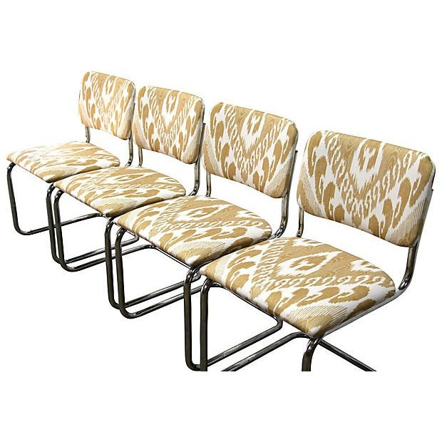 Ikat Cantilevered Chrome Chairs - Set of 4 - Image 4 of 7