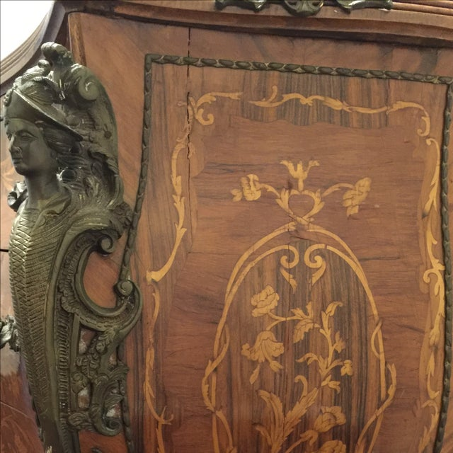 Ant Marble Top Louis XV Marquetry Commode Bronze - Image 7 of 11