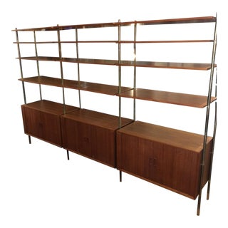 Teak & Brass Bookcase Room Divider