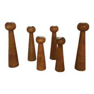 Mid-Century Carved Wood Candlestick Pillars - Set of 6