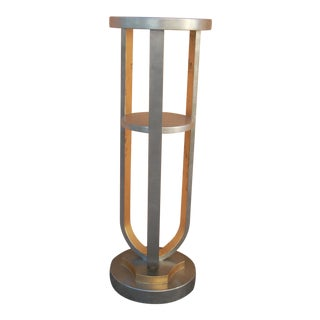 Silver Hollywood Regency Style Pedestal