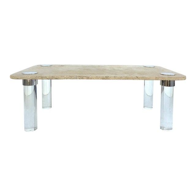 Karl Springer Travertine, Chrome & Lucite Coffee Table