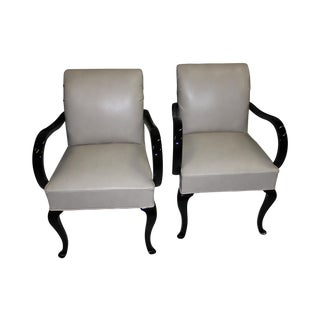 French Art Deco Black Lacquered Armchairs - A Pair