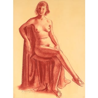 Seated Nude Pastel Drawing by C.F. Seavey
