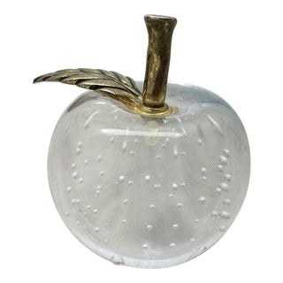 Vintage Glass Apple Paperweight