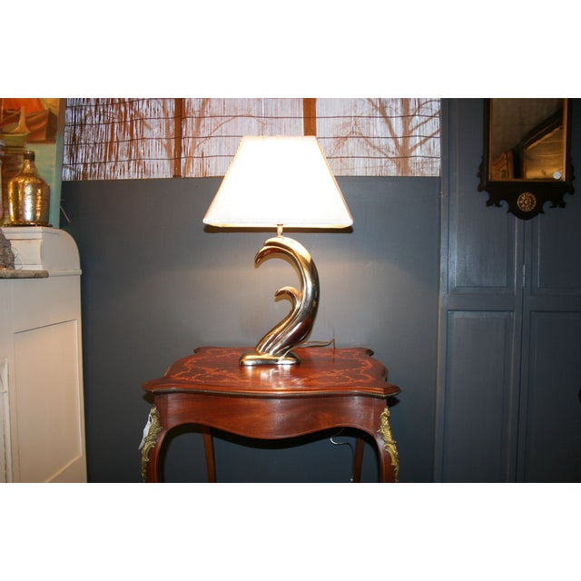 Modern Aged Silver Sculptured Accent Lamp - Image 5 of 7