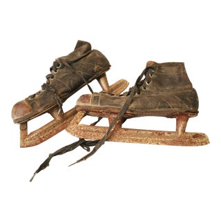 Vintage Distressed Brown Leather Ice Skates - A Pair