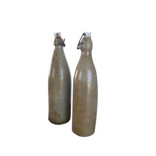 Antique German Stoneware Bottles - A Pair