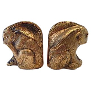 Brass Rabbit Bookends - Pair