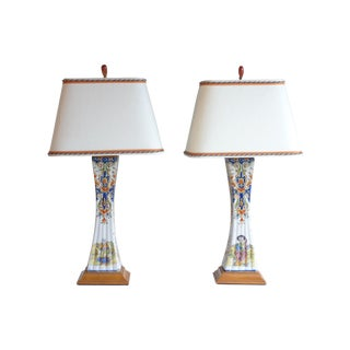 French Faience Lamps - A Pair